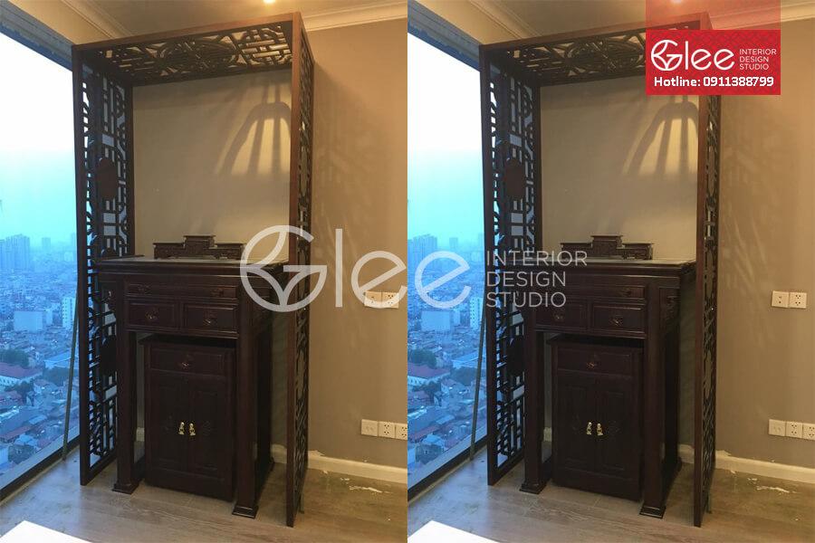 tủ thờ nhà chung cư kết hợp CNC - GTT20